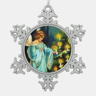 Clapsaddle: De Verlichting van de Engel van Tin Sneeuwvlok Ornament