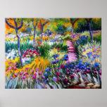Claude Monet: De Tuin van de iris door Giverny Poster