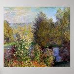 Claude Monet - Hoek van de Tuin in Montgeron Afdruk