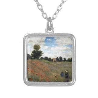 Claude Monet - Les Coquelicots Ketting Vierkant Hangertje