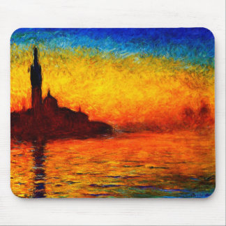 Claude Monet-Sunset in Venetië Muismatten