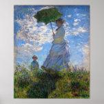 Claude Monet: Vrouw met een Parasol Afdruk