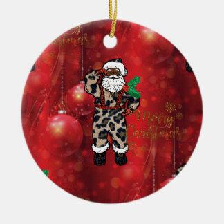 Claus van de santa Afrikaans luipaard rood Rond Keramisch Ornament