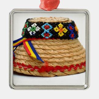clop traditioneel pet zilverkleurig vierkant ornament