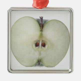 Close-up van een gesneden Granny Smithappel Zilverkleurig Vierkant Ornament