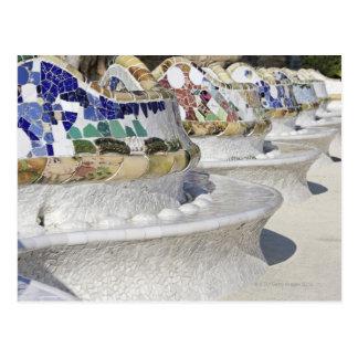 Close-up van Mozaïeken bij Gaudi de Bouw, Parc Briefkaart