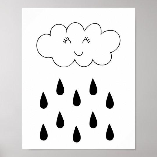 Cloud & raindrops poster nursery children's room