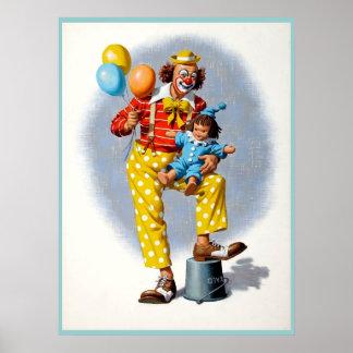Clown die 6 schilderen poster