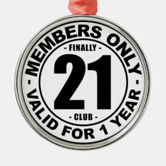 Club tot slot 21 zilverkleurig rond ornament