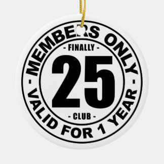 Club tot slot 25 rond keramisch ornament