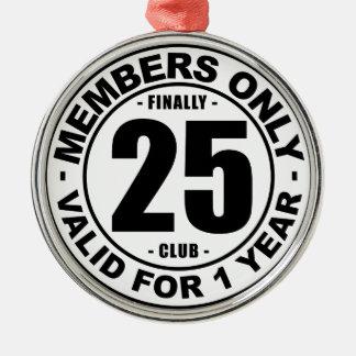 Club tot slot 25 zilverkleurig rond ornament