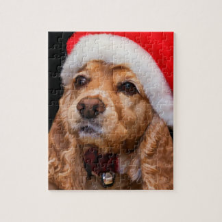 Cocker-spaniël die het Pet van de Kerstman draagt Foto Puzzels