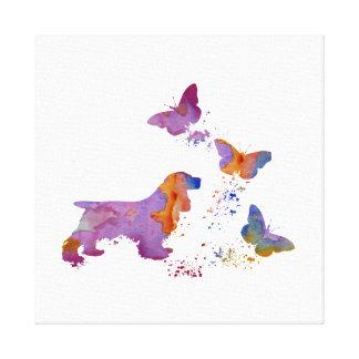 Cocker-spaniël en vlinders canvas afdruk