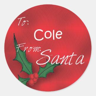 Cole Gepersonaliseerde Hulst Label34 Ronde Sticker
