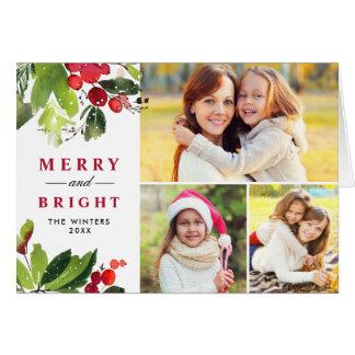 Collage van de Foto van de Waterverf van Kerstmis Briefkaarten 0