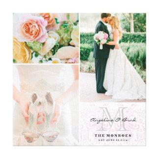 Collage van de Foto van het Huwelijk van het Monog Canvas Afdruk
