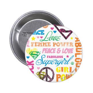 Collage van de Tekst van Supergirl de Kleurrijke Ronde Button 5,7 Cm