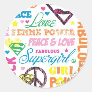 Collage van de Tekst van Supergirl de Kleurrijke Ronde Sticker