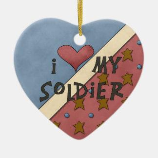 Collectie I van Kerstmis houdt van Mijn Militair Keramisch Hart Ornament