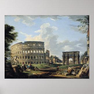 Colosseum en de Boog van Constantine Poster