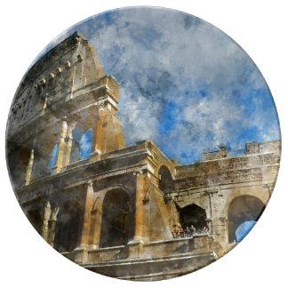 Colosseum in Oud Rome Italië Porseleinen Bord