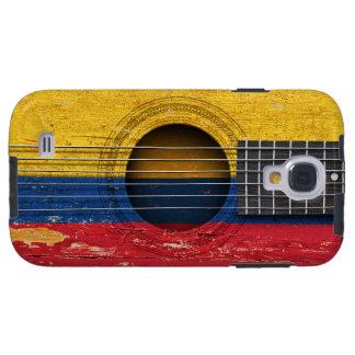 Columbiaanse Vlag op Oude Akoestische Gitaar Galaxy S4 Hoesje