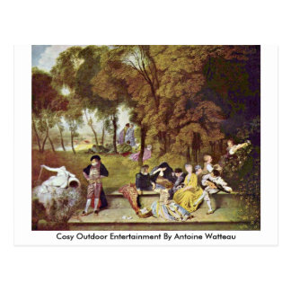 Comfortabel OpenluchtVermaak door Antoine Watteau Briefkaart