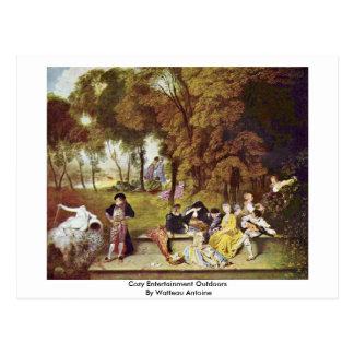 Comfortabel Vermaak in openlucht door Watteau Briefkaart