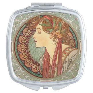 Compacte de Jugendstil van Alphonse Mucha Laurel Makeup Spiegeltje