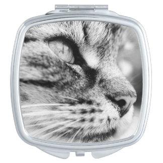Compacte spiegel met zwart-wit kattenbeeld make-up spiegels