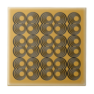 Concentrische Zwarte Cirkels over het Goud van de  Keramisch Tegeltje