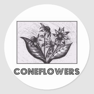 Coneflowers Ronde Stickers