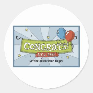 Congrats op het nieuwe baby! ronde stickers