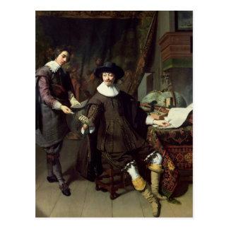 Constantijn Huygens en zijn bediende, 1627 Briefkaart