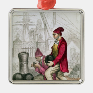 Convict in Toulon StrafKolonie Zilverkleurig Vierkant Ornament
