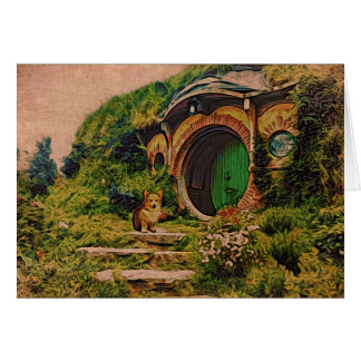 Corgi in Hobbiton Briefkaarten 0