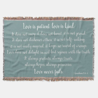 Corinthians het Vers, Liefde is Geduldig (wit op Deken