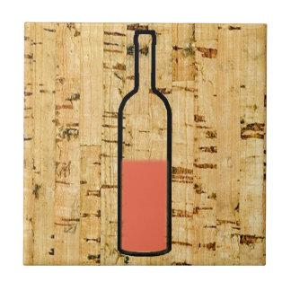 """cork ontwerp gesimuleerde van de wijn """"half lege"""" keramisch tegeltje"""