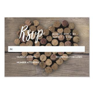Cork van de wijn de kaart van het Hart RSVP