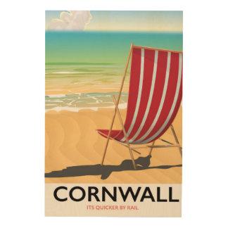 Cornwall poster van de strand het klassieke reis houten canvas