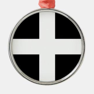 Cornwall van Heilige Piran Vlag de van Cornwall - Zilverkleurig Rond Ornament