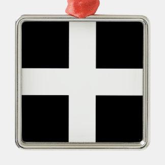 Cornwall van Heilige Piran Vlag de van Cornwall - Zilverkleurig Vierkant Ornament