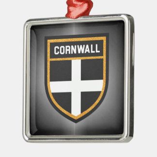 Cornwall Vlag Zilverkleurig Vierkant Ornament