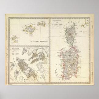 Corsica, Sardinige, de Balearen, Valletta Poster
