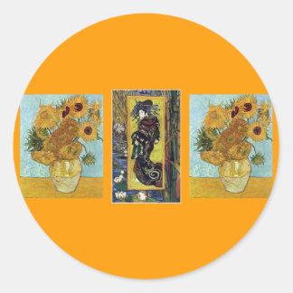 Courtisane en Zonnebloemen door Van Gogh Ronde Sticker