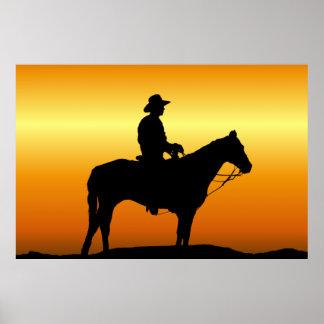 Cowboy bij het Poster van de Muurschildering van d