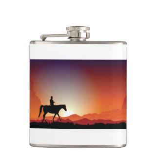 Cowboy die een Fles van het Paard berijden Heupfles