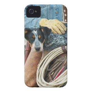 Cowboy en hond op paard iPhone 4 hoesje