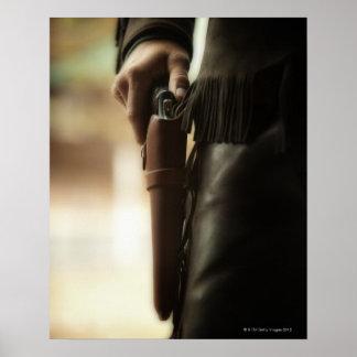 Cowboy met pistool in holster poster