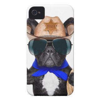 cowboy pug - hondcowboy iPhone 4 hoesje